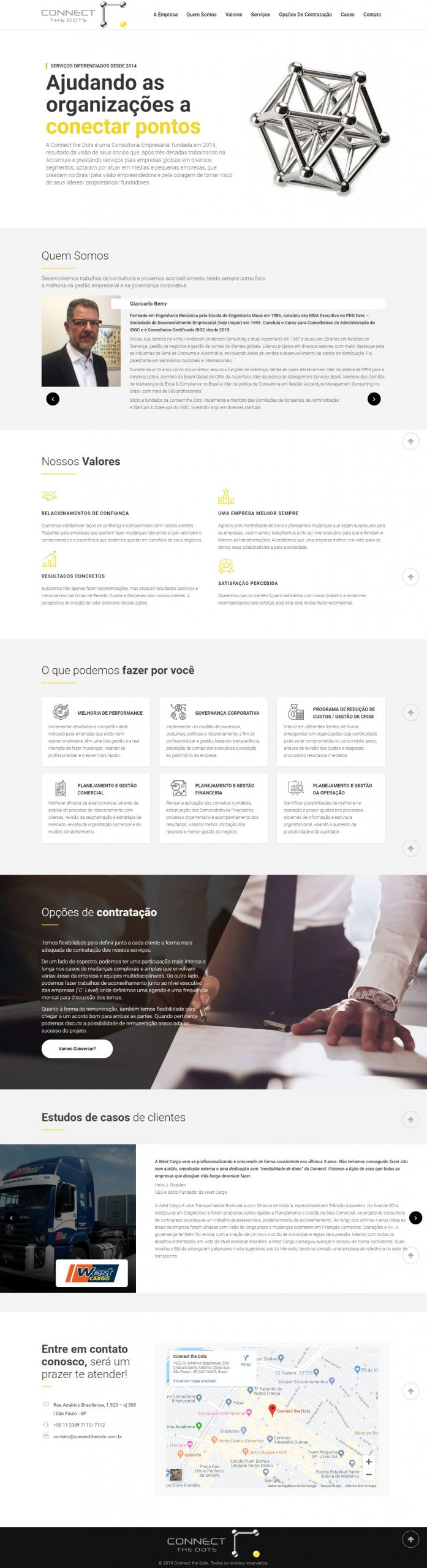 criacao site wordpress conect the dots completo